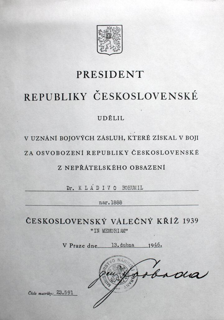 Československý válečný kříž IN MEMORIAM