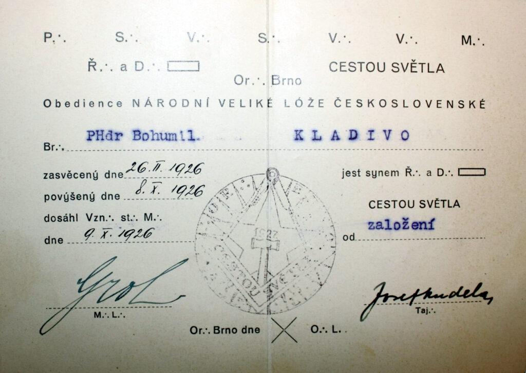 Zednářská legitimace prof. PhDr. Bohumil Kladivo
